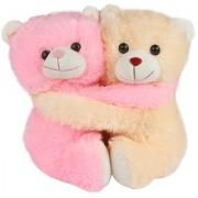 Deals India Beige Pink Cuddling Couple Teddy Bear Soft Toy - 25 cm