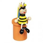 Fa ceruzatartó 5 db színesceruzával, méhecskés