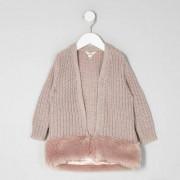 River Island Mini girls pink faux fur hem cardigan