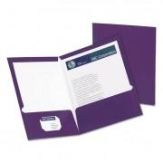 High Gloss Laminated Paperboard Folder, 100-Sheet Capacity, Purple, 25/box