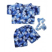 Hawaiian Boy w/Flower Lei Teddy Bear Clothes Outfit Fits Most 14 - 18 Build-a-bear, Vermont Teddy Bears, and Make Your Own Stuffed Animals by Stuffems Toy Shop