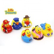 Little Treasures Rubber Duck baby bath toys for all infants and toddlers a set of six squirts perfect size and softness for little hands