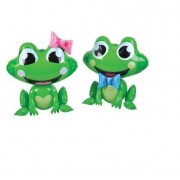 INFLATABLE FROGS-set of Four Adorable Frog Inflates -Ribbit Ribbit-(2) Girls with Pink Bow-(2) Boys