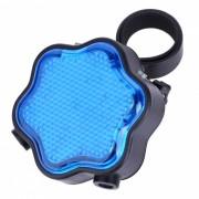 Plum Blossom Pattern 7-modo azul luz LED cola lampara w / rojo laser para bicicletas - azul + negro