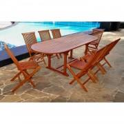 Le Sumbawa, salon en teck huilé 10/12 personnes : 1 table ovale et 8 chaises