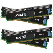 Corsair CMX16GX3M4A1600C9 XMS3 Memoria per Desktop a Elevate Prestazioni da 16 GB (4x4 GB), DDR3, 1600 MHz, CL9