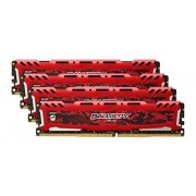 Ballistix Sport LT 16GB Kit (4GBx4) DDR4 2400 MT/s (PC4-19200) DIMM 288-Pin Memory - BLS4C4G4D240FSE (Red)