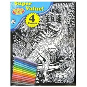 Velvet Fun Coloring Art 4 Pack With Markers ~ Dino Babies (Dinosaur With Eggs, Run For Your Life, Hatching Eggs With Volcano, Baby With Dragonfly)