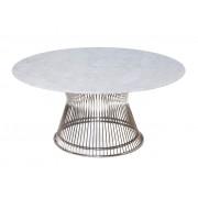 Warren Platner Coffee Table - Stainless Steel - Marble Top - 80cm