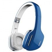 MEE audio Rumble AF80 Enhanced-Bass Bluetooth Wireless Stereo Headphones with Headset Functionality (Blue/White)
