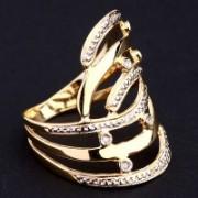 Anel de Ouro Amarelo, Ouro Branco com 6 Diamantes de Meio Ponto