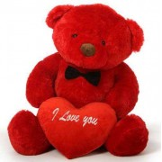 2 feet big red teddy bear with red I Love You Heart