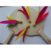 Ping Pang Beachball / badminton mini shuttle gemixt in vrolijke kleuren (per 4 stuks verpakt)