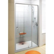 Ravak Pivot PDOP1-120 egyrészes kifelé nyíló zuhanyajtó fehér kerettel és fogantyúval, transparent edzett biztonságiüveg betéttel