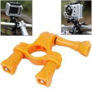 TMC Guidon Tige de selle Pôle Mount Bike Moto Pince à vélo pour GoPro HERO4 / 3+ / 3/2/1 (Orange)