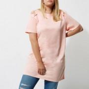 River Island Plus pink cold shoulder oversized T-shirt