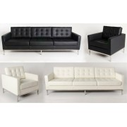 Replica Florence Knoll Arm Chair - Italian Leather - black or white