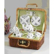 Delton Products Green Bumble Bee Porcelain Tea Set for Two in Basket
