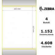 Zebra Z-Perform 1000T - Etichette in carta normale (vellum) di colore bianco, formato 102 x 127 mm.