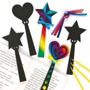 Magic Wand Scratch Art Bookmarks Hearts Stars Childrens Craft Activities (Pack Of 12)
