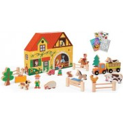 Janod 08524 Story Box Farm 23pc Wooden Set with Coloring Book