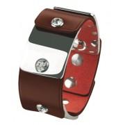 Cobra - JB027BR - Ligne Armadillo - Bracelet Mixte « écailles » avec maillons acier inox brillant - Cuir - Veau Grand Modèle