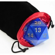 Big Jumbo 20-Sided (D20) BLUE Transparent 55mm Dice _ with black velvet pouch