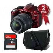 Digitalni fotoaparat D3100 + 18-55VR + NIKON CF-EU 05 + SANDISK 8GB ULTRA II crveni