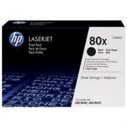 HP 80X originele high-capacity zwarte LaserJet tonercartridge, 2-pack