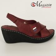 Sandale Dama cu Platforma din Piele Naturala Burgundy - Talpa Antistres - Caspian Sea - 1245