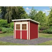 KARIBU Gartenhaus SPARSET Bologna 3 19 mm kastanienrot, inkl. 2 x selbstklebende Premium-Aluminiumfolie