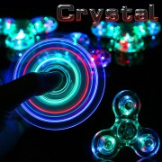New Crystal LED Fidget Spinner Hand Clear Flash Light EDC Finger Spiner Tri Spinners Toys For Autism ADHD Focus Anti Stress Gift