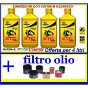 4 lt olio bardahl xtc c60 15w50 moto 4t racing + filtro olio lubrificanti moto