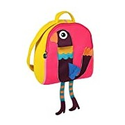 Oops Little Helper Thick Impenetrable and Fully Waterproof Neoprene Rucksack with Super Cute 4D Lady Peacock Applique (Multi-Coloured)