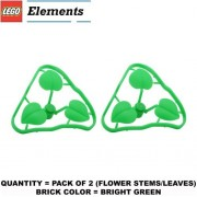 Lego Parts: Plant Flower Stem 1 x 1 x 2/3 with 3 Large Leaves (PACK of 2 - Bright Green Leaves)