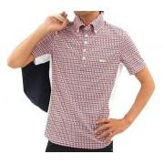 ロックデュード 半袖トップス ゴルフウェアメンズ サイド切替チェックポロ