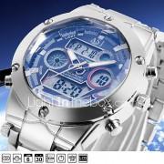 ASJ Heren Sporthorloge Polshorloge Japans Kwarts LCD Kalender Chronograaf Waterbestendig Dubbele tijdzones alarm Roestvrij staal Band