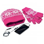 Kit Celly Caciula Manusi Touchscreen pink