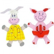 Lacing Puppets Pig and Donkey