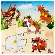 Skillofun Wooden Junior Identification Tray Wild Animals II with Knobs, Multi Color