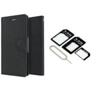 Lenovo S650 Mercury Wallet Flip case Cover (BLACK) With Nossy Nano Sim Adapter