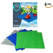 6 Pack Baseplates By Yarrdee Compatible With All Major Brands Green+Grey+Blue Large 10x10 Inch Base Plates