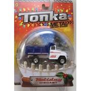 Santas Workshop Blue & White Dump Truck Tonka Metal Holiday Diecast 1:50 Scale