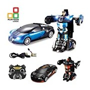 Playtech Logic 2.4Ghz Bugatti Veyron Style Transformers Remote Control Car - Talking Autobot RC Drifting Car & Robot - Sound FX Lights - One Touch Transform - Rechargeable Radio Controlled RC Car