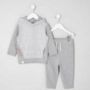 River Island Mini boys grey waffle hoodie outfit