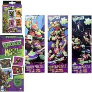Ultimate 4 Piece Teenage Mutant Ninja Turtles Puzzle Gift Set For Kids - 3 TMNT Puzzles 1 Memory Match Game Plus 1 Pack