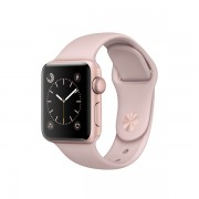 Apple Watch Series 2 con caja de aluminio color oro rosa de 38 mm y correa deportiva color arena rosa