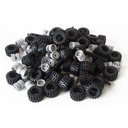 LEGO City Complete Wheel Assembly Lot 20 Black Axles 40 Black RUbber Tires 40 Light Gray Wheels