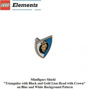 Lego Parts: Minifigure Blue & White Lion Shield & Coat Of Arms Tile