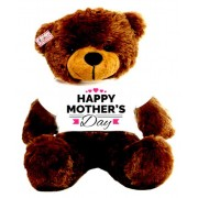 2 feet big brown teddy bear wearing Happy Mothers Day hearts T-shirt